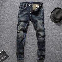 European American Autumn Winter Fashion Men Jeans Dark Color Printed Jeans Men Denim Pants Balplein Brand Jeans Men Biker Jeans