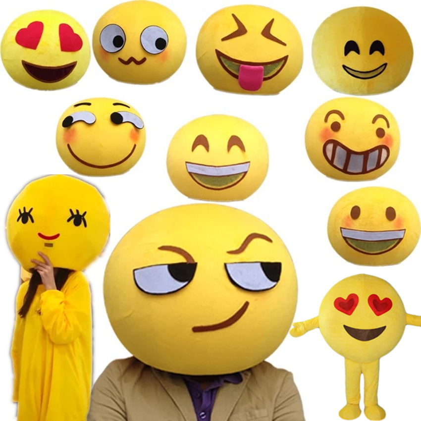 121d555905 2018 happy red heart eyes face emoji Can be customized mascot costumes for  cosplay adult fancy