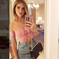 Hot Sell Women Crop Top Plain Strapless Tie Front Off The Shoulder Tops For Women Affordable Sexy Lace Up Cropped Tank Top