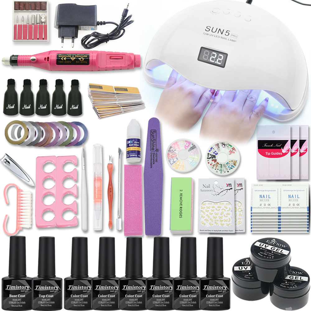 Nail Gel Polish Nail Set With UV Led Lamp 36/48/54W Manicure Pedicure Manchine Manicure Tool Set Choose 6/12 Color Nail Gel Kit