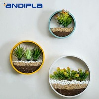 3pcs/lot Modern Round Iron Art Glass Hanging Flower Pot Creative Wall Vase Artificial Flower Plant Planter Home Decor Bonsai Pot