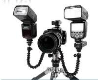 Livraison gratuite Caméra Double bras mixte Macro tir Réglable Flash Support Support pour flash lumière trépied