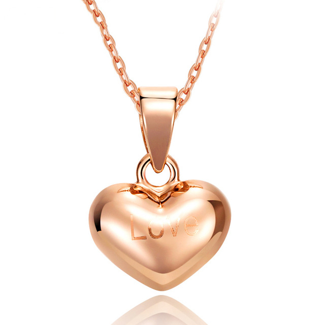 Boraizy Exquisite 18k Pure Real Gold Love Heart Pendant Rose/Yellow/White Charms Fine Jewelry for Women Gift Miss GiftBoraizy Exquisite 18k Pure Real Gold Love Heart Pendant Rose/Yellow/White Charms Fine Jewelry for Women Gift Miss Gift