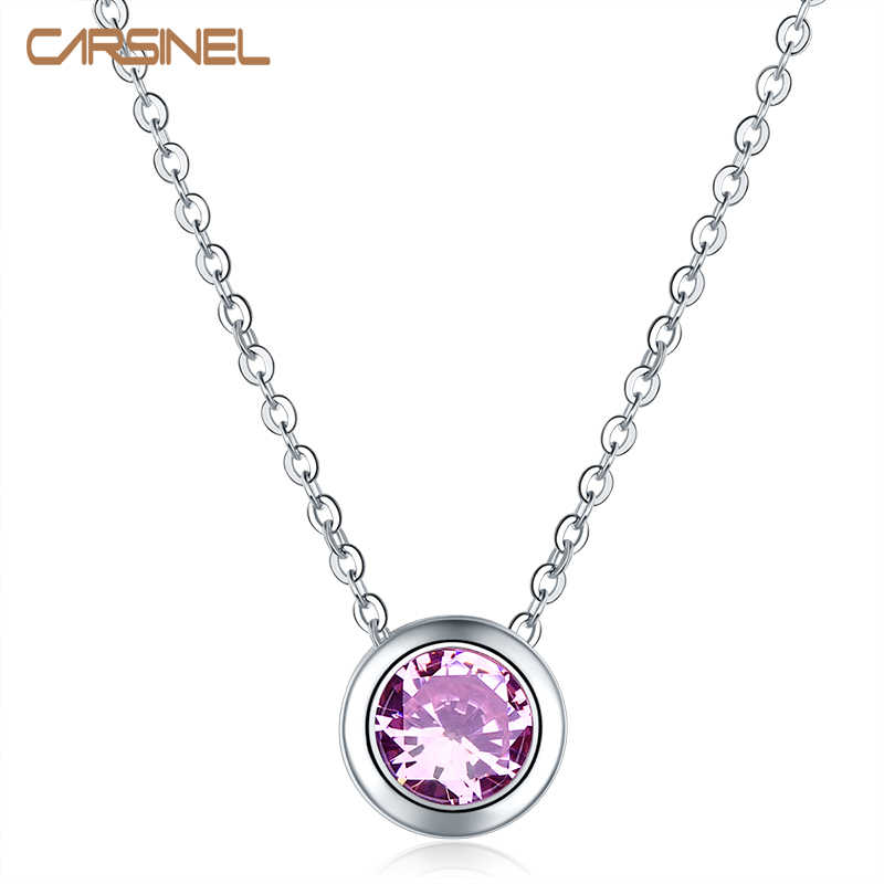 CARSINEL Women Necklace 9.5 mm Purple Round Zircon Necklace & Pendants Fashion Chain Choker Jewelry for Lady Party Gifts NE0131