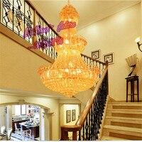 Люстра лампа Светодиодная вилла соединение этаже Люстры, роскошный отель Рынок зал декоративный светильник K9 хрустальные светильники
