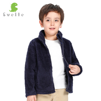 Smukły dla 2-7Y dzieci chłopcy dziewczęta Unisex grube futro polar kurtka odzież wierzchnia płaszcz wiatrówka jesień zima ciepłe ubrania dla dzieci