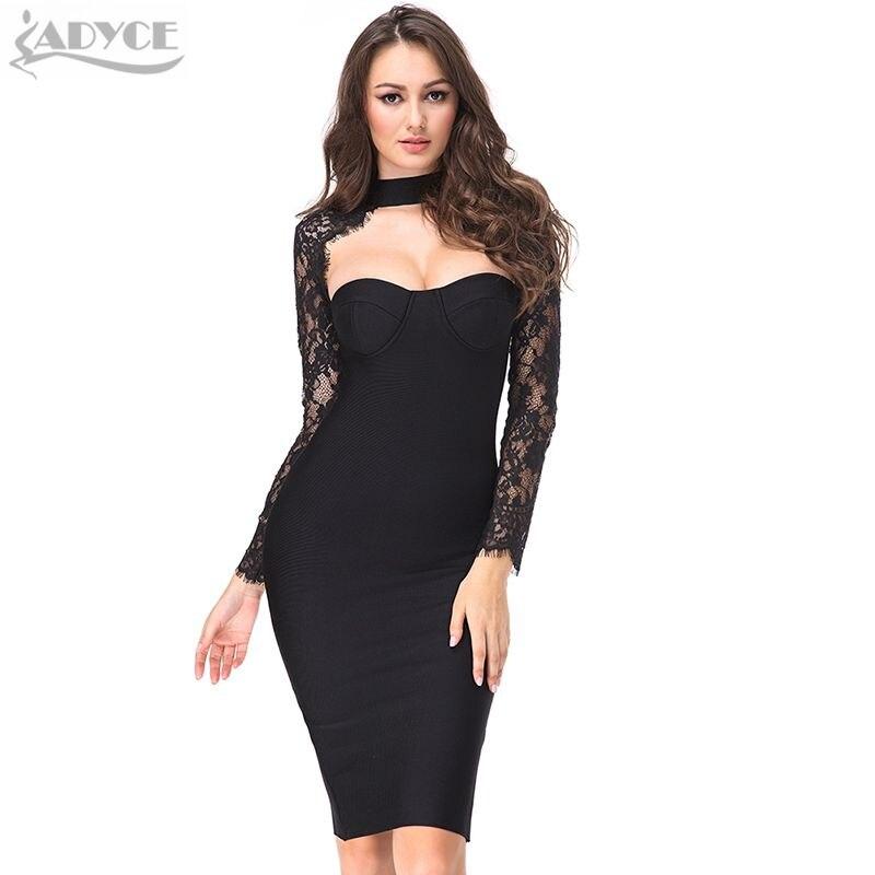 2017 летний новый женщины party dress длинные рукава выдалбливают горячие знаменитости коктейль bodycon dress черное кружево бинты dress vestidos