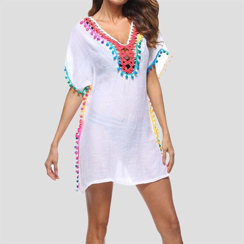 Pareo Beach Sexy Cover Up Bikini 2017 Bohimia Tassel Dress Swimwear Bathing Suit Holiday Loose Blouse Top robe de plage