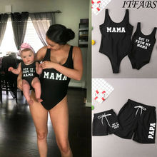 Семейный черный купальник для мамы, мамы, папы, папы, девочки, купальный костюм для мальчика, бикини, плавки