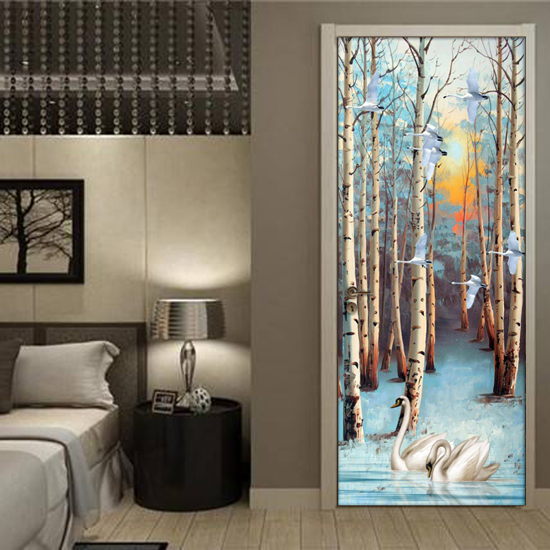 Birch Forest Swan Oil Painting PVC Self-Adhesive Wallpaper For Living Room Bedroom Study Room Door Sticker Mural Home Decor 3D book knowledge power channel creative 3d large mural wallpaper 3d bedroom living room tv backdrop painting wallpaper