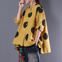 New 2018 fashion Women linen shirt yellow blusa camisa feminina loose large size long sleeved womens tops and blouses