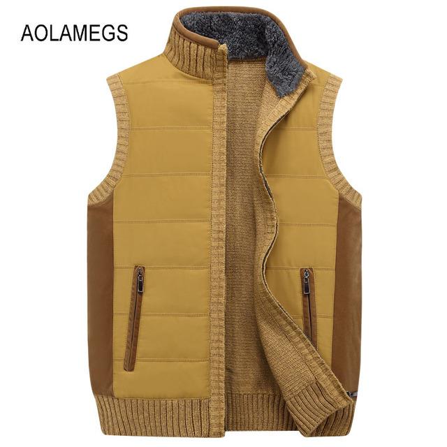 Aolamegs Homens Colete Suéter Gola Sem Mangas Cardigan Outwear Zíper Sweatercoat 2016 marca de Alta qualidade roupas Plus Size