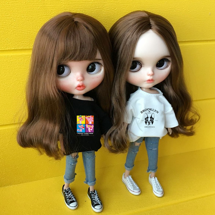 1/6 Blyth Doll Clothes Accessories Fashion Doll Clothes Carton T-shirt + Jeans For Barbie Doll Blyth 30cm Doll Accessories