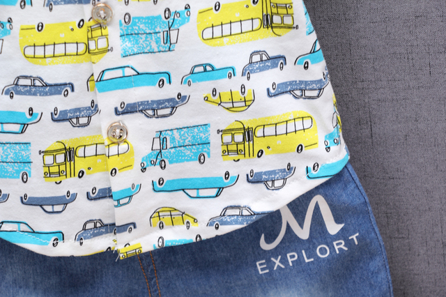 2-Pieces Mini Bus Print Short Sleeve Top and Pants Set for Baby and Toddler