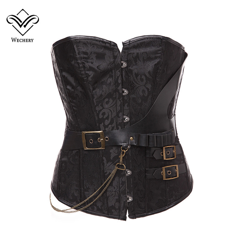 Wechery   Corsets   and   Bustiers   Steampunk   Corset   Sexy Corsages Gothic Leather Corselet Retro Straitjacket Plus Size S-6XL