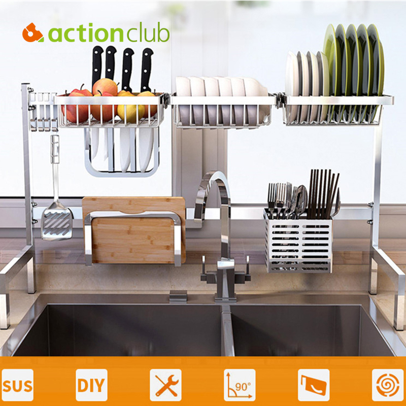 Us 6 9 26 Off Actionclub Kitchen Sink Drying Rack Stainless Steel Plate Dish Drain Shelf Foldable Household Kitchen Storage Holder In Racks