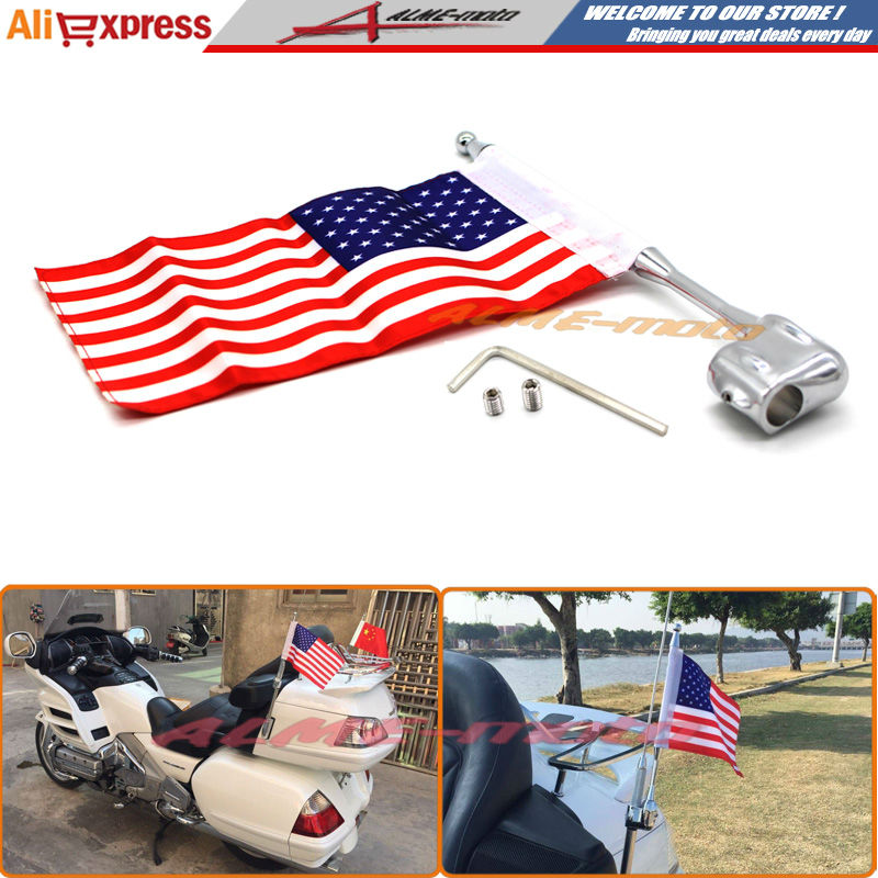 Motocycle Aluminum Rear Side Mount Luggage Rack Antenna Vertical Flag Pole American For Honda GoldWing GL1800 GL1500 2001-2012 motorcycle flag pole luggage rack vertical american for honda goldwing gl1800 2001 2011