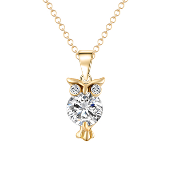 Crystal Zircon Lovely Animal Owl Pendants Necklace