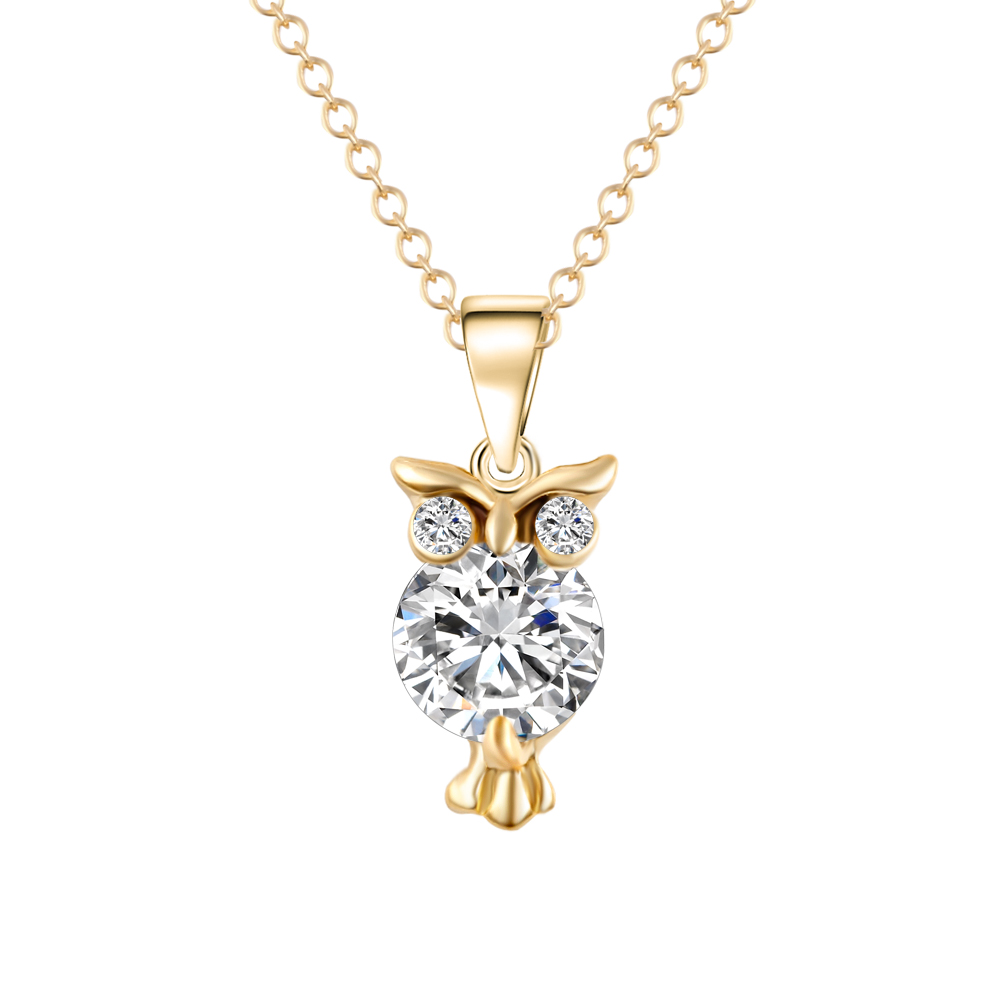Gold Color Chain Women Necklace Crystal Zircon Lovely Animal Owl Pendants Silver Color Necklaces Jewelry For Women Gift Fashion