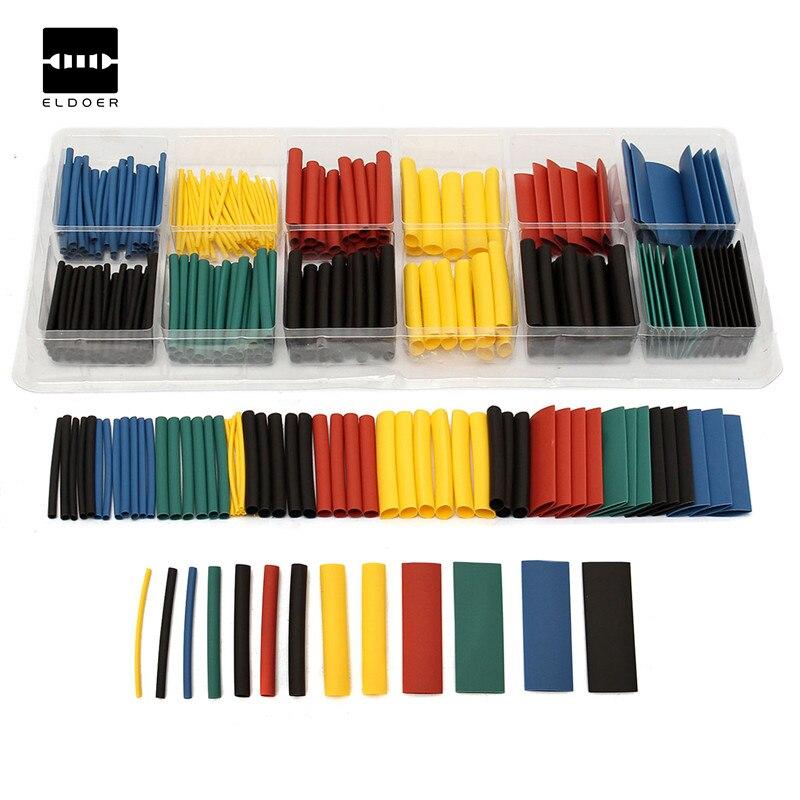 280ピースポリオレフィン品揃え比2:1熱収縮チューブチューブスリーブ用ラップキットでボックス5色黄色、青、黒