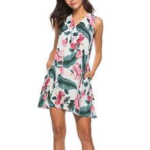 FeiTong V neck leaves of printing summer dress women Sleeveless white short dress  Above knee casual 2ac3aaf8ea25