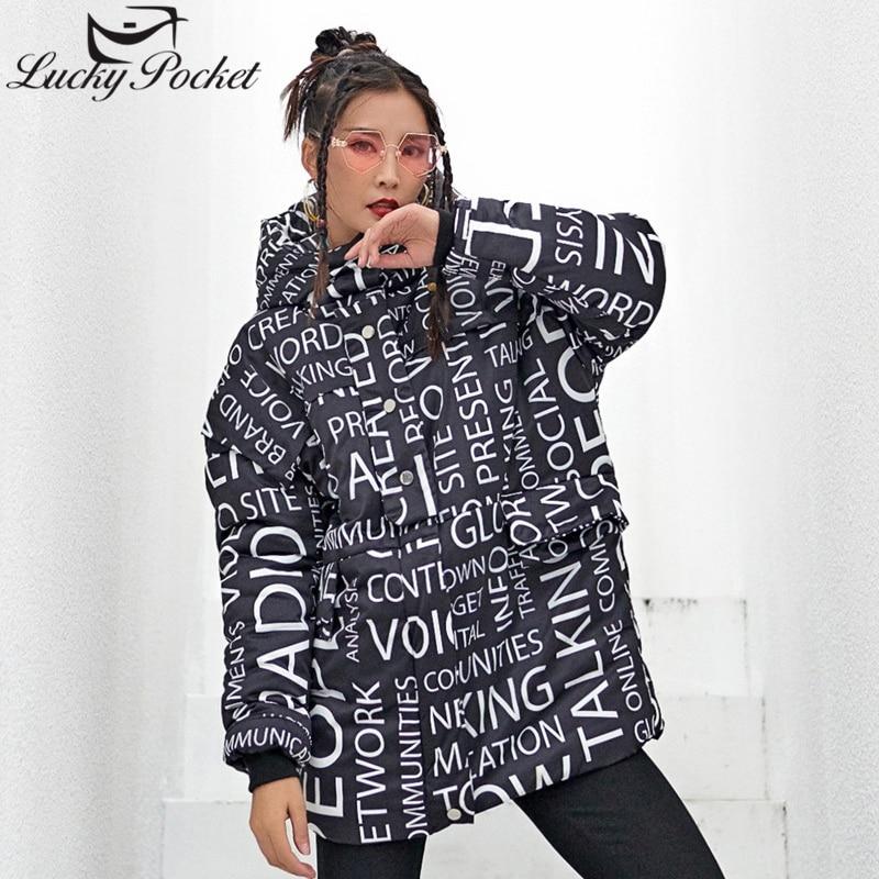 Lettre Z494 Imprimer Parkas Manches Décontracté Mode New Hiver Harajuku Black Épais Femme Veste À Longues Capuche Manteau Noir Chaud Lâche Femmes vHP0wq0