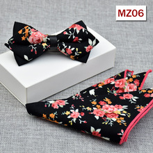 цена на Floral 100% Cotton Jacquard Woven Men bow tie, Wedding Butterfly Self Bow Tie Pocket Square Handkerchief BowTie Set Hanky Suit