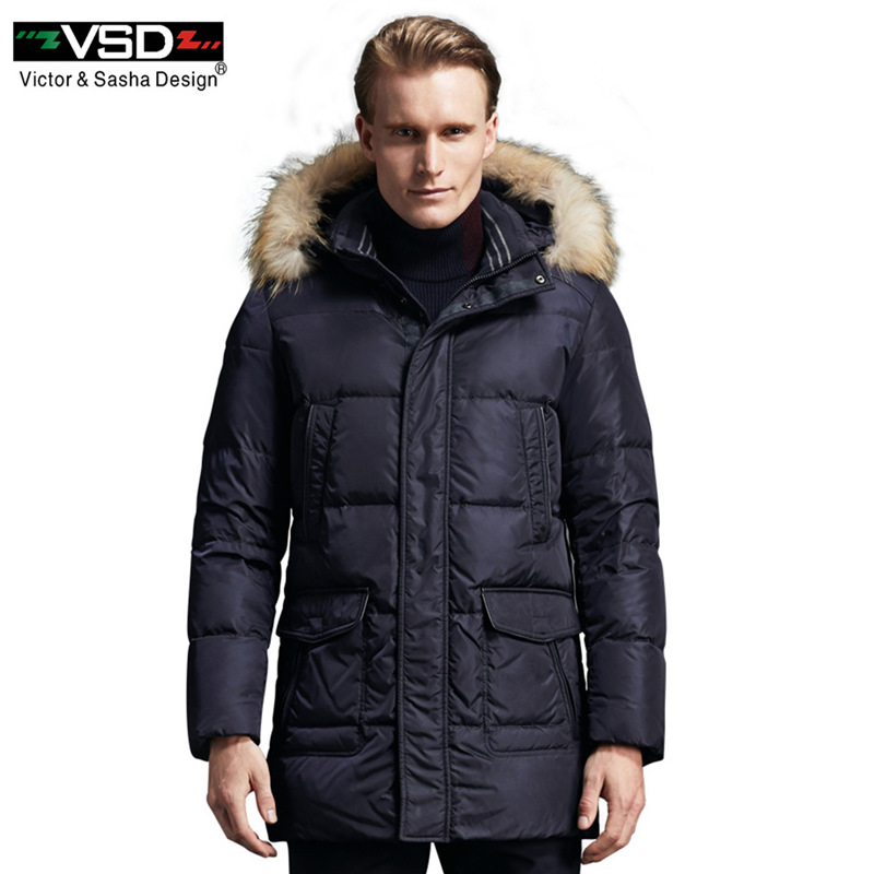 VSD 90% White Duck   Down   Jackets Quality Handsome Warm Long Fashion Business Winter Men's Clothing Casual   Coat   Male Parka TC8852