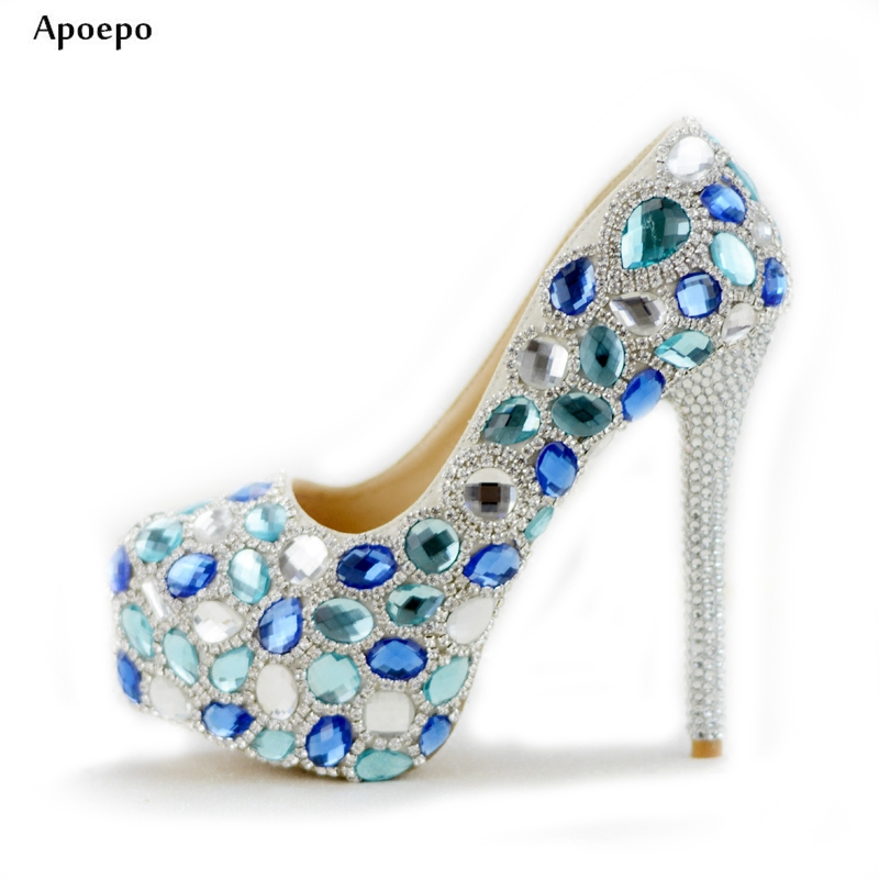 Apoepo Crystal High Heels for Woman 2018 Round Toe Platform Pumps Blue White Rhinestones Wedding Heels Slip-on Dress Shoes nayiduyun women casual shoes low top platform wedge high heels boots round toe slip on pumps punk chic shoes black white sneaker