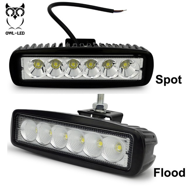 LED Work Light  12V Car Auto SUV ATV 4WD 4X4 Offroad LED Driving Fog Lamp Motorcycle Truck Headlight 18w work lights spot lamp off road driving fog 6 led bar atv 4x4 truck suv car styling auto parts accessories