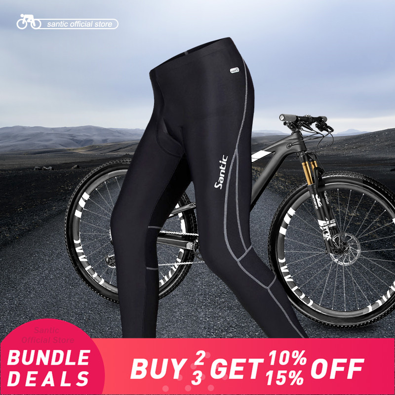 Santic Men Cycling Long Pants Padded 4D Pad Autumn Early Winter Breathable Bike Riding Cycling Pants