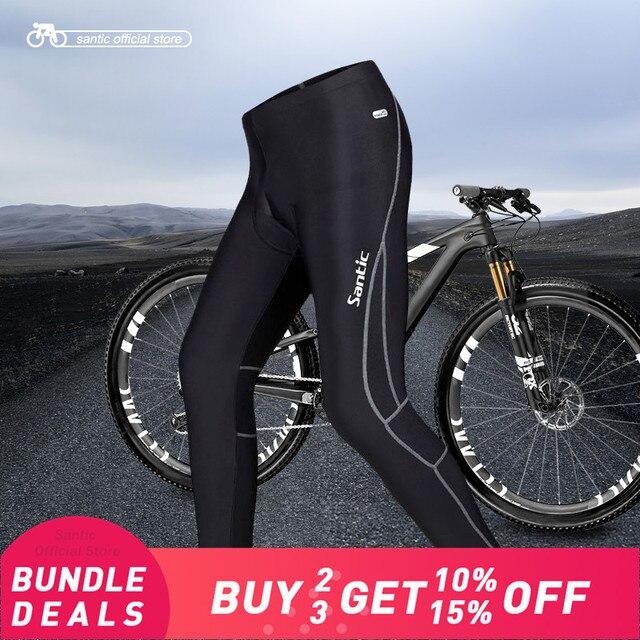 Santic Men Cycling  Long Pants  Padded 4D Pad Autumn Early Winter Breathable Bike Riding Cycling Pants Full Length Black MC04015