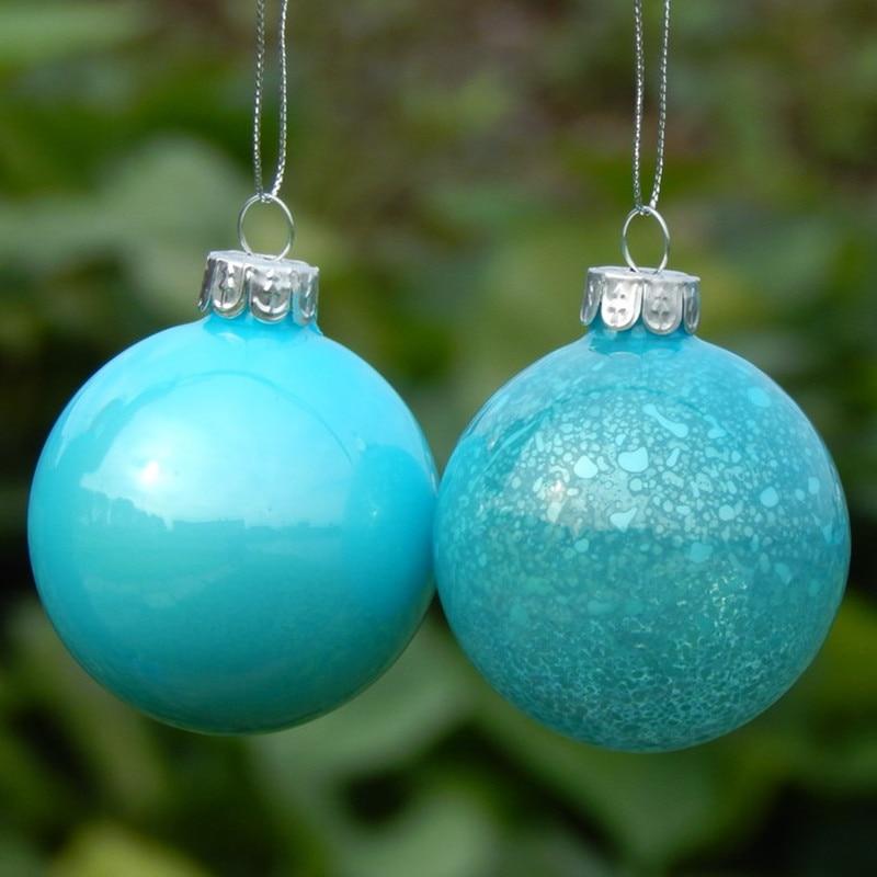 Gran embalaje cielo azul hecho a mano colgantes de cristal de Navidad pintura a mano bola de Navidad decoración del hogar - 5