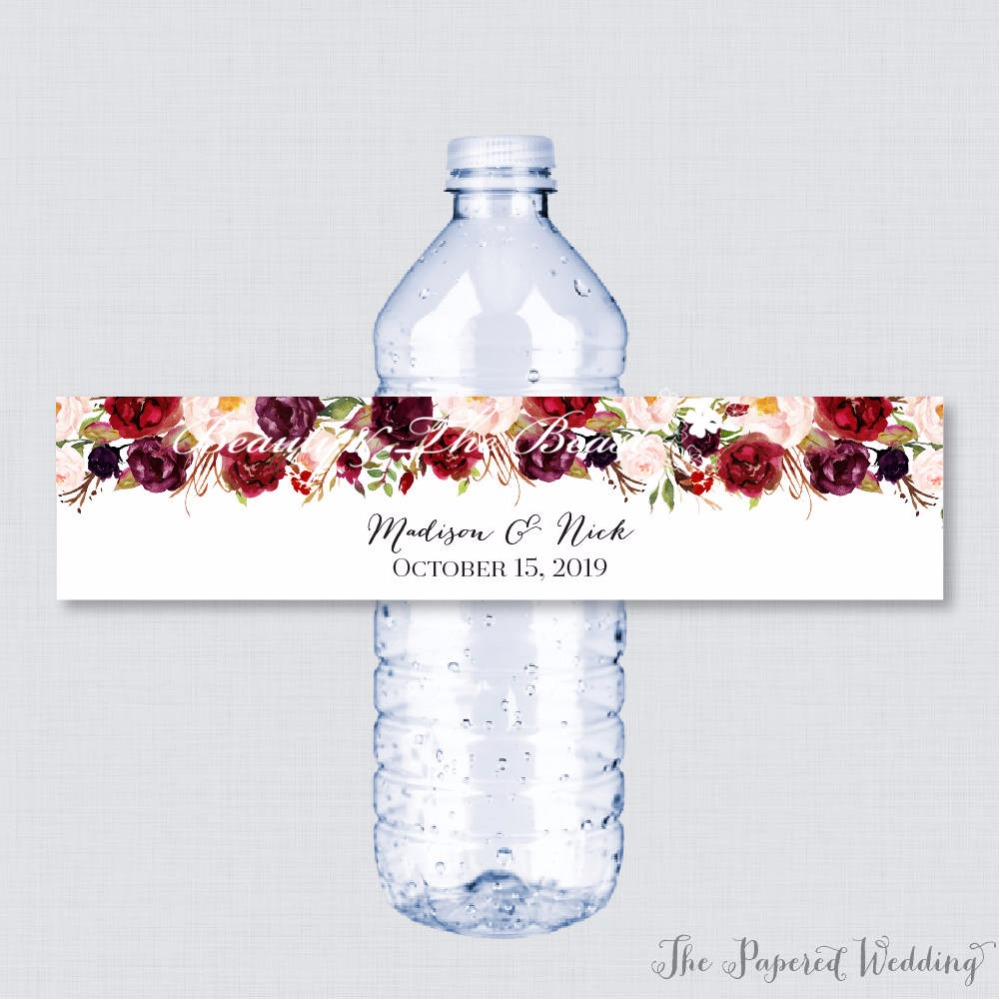 water bottle label wedding