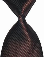 New Classic Solid Color Striped Tie Brown Jacquard Woven 100% Silk Fashion Wedding Party Men's Ties Necktie
