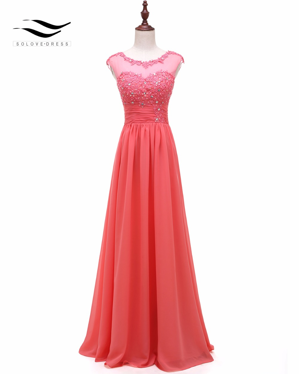 Solovedress Appliques Real Photos Cap Sleeves Beaded A Line Bridesmaid Dress Pleat Gown Elegant Vestidos De Fiesta PV20002