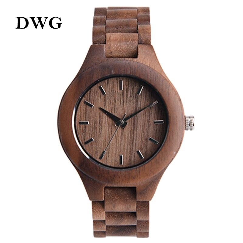 DWG Analog Luxury Wood Watch for Women Newest Quartz Watch Maple Walnut Wooden Wrist Watch for