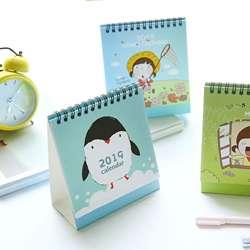 Новый Kawaii мультфильм Животные стол календарь 2018 2019 Творческий Вертикальная бумага Multi-function коробка для хранения расписание планировщик