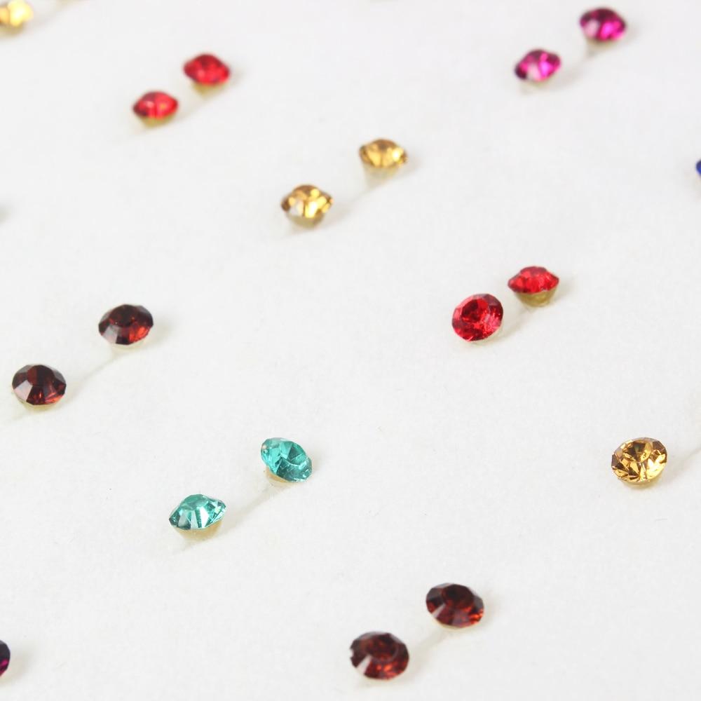 100 Pair/lot Women Crystal Small Stud Earrings Sets Girl Child Baby Plastic Glue Stick Mini Earring Jewelry Friend Birthday Gift