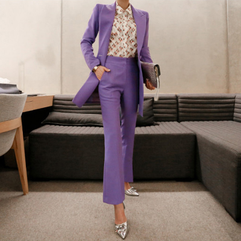 Fashion Double Breasted Women Pant Suit Notched Long Blazer Jacket And Straight Pant Casual 2 Pieces Set Slim Work Business Set