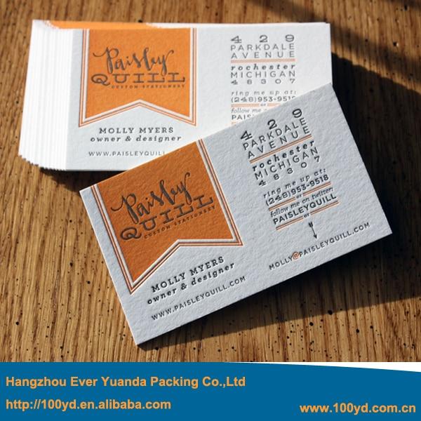 Gros Mode Style Personnalise En Relief Des Cartes De Visite Typographie Impression 600gsm Papier Special Luxe