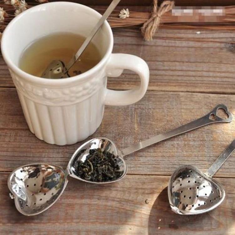 New 1 Pcs Practical Heart Shape Stainless Steel Tea Infuser Spoon Strainers Steeper Handle Shower Tea Strainer Tool