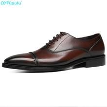 цены New Brand Fashion Men Oxford Shoe Genuine Leather Fingertip Cap Black Brown Wedding Dress Shoes Party Male Formal Shoe
