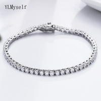 17.5 cm tennis bracelets elegant 925 silver jewelry pave 3 mm round crystal great jewellery luxury sterling silver Bracelet