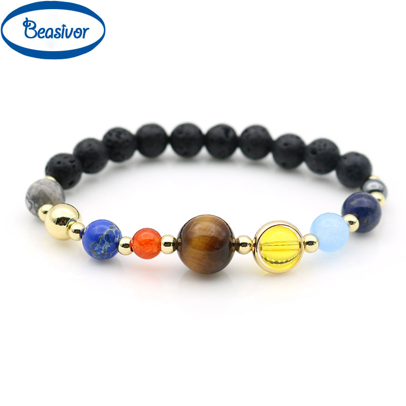 Natural Stone Solar System Bracelet Galaxy Outer Space