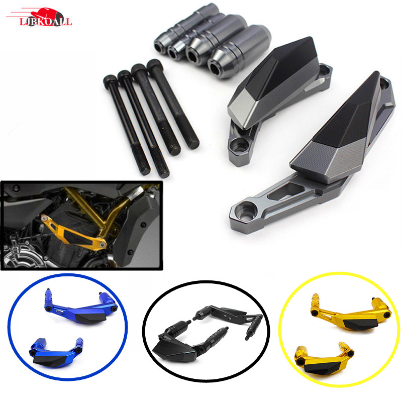 New CNC Aluminum Motorcycle Engine Slider Case Guard Cover Protector Frame For YAMAHA MT-07 FZ-07 FZ07 MT07 MT 07 2014-2017 motorcycle cnc 6 hole beveled engine side guard derby cover