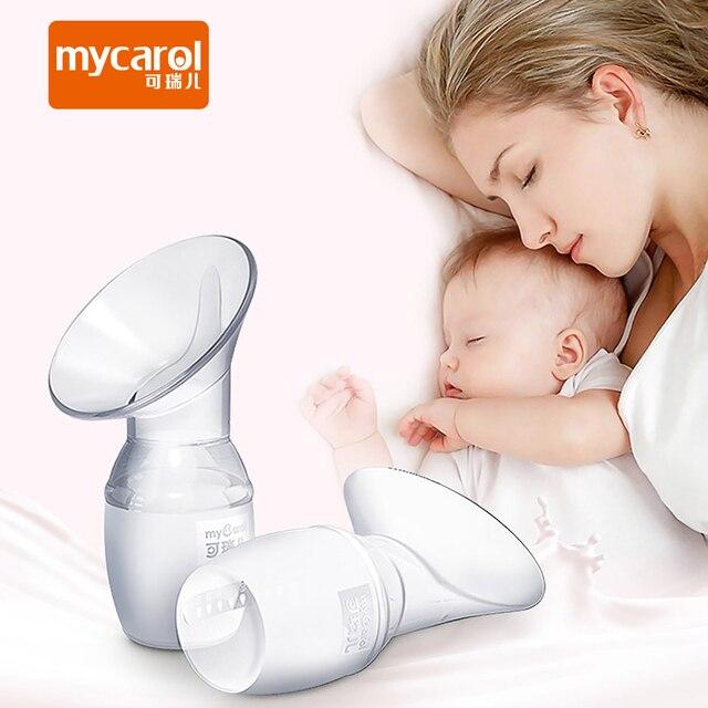 ماي كارول جهاز تجميع حليب الثدي من السيليكون مضخة يدوية للرضاعة الطبيعية تسرب الثدي والحليب مجموعة تخزين الحليب 90 مللي