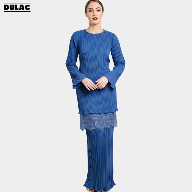 Advanced Customization Wholesale Muslim Sets Women Fashion O-Neck Pleated Long  Dress Islamic Lace Clothing Malaysia Baju Kurung d86c8528d16d
