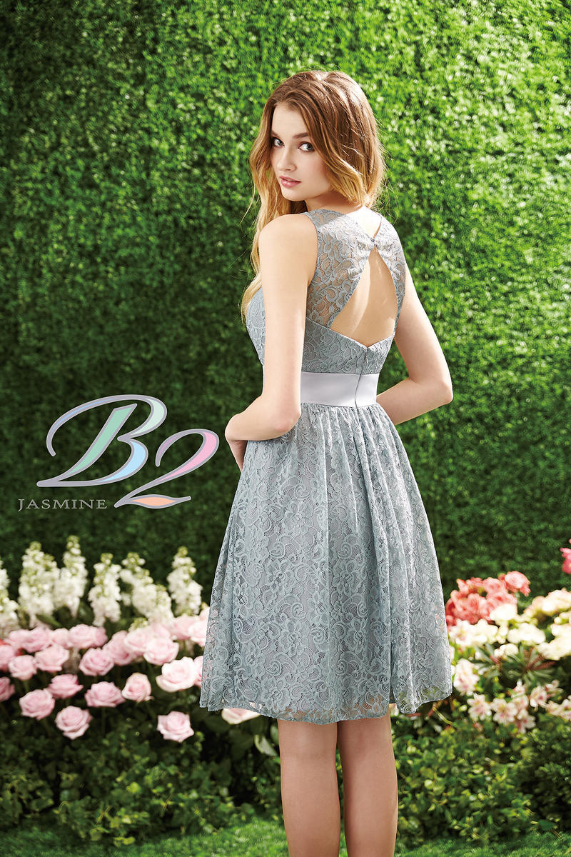 2015 Short Silver Bridesmaid Dress B2 By Jasmine Jewel Knee Length Lace Honor Wedding Guest