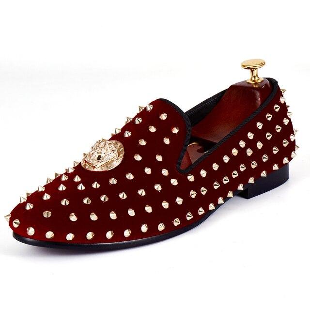 4adf4793d33 Harpelunde Men Dress Shoes Medusa Gold Plate Wedding Shoes Spikes Red Velvet  Loafers Size 7-14